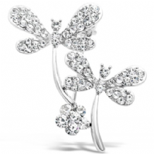 Double Crystal Cluster Dragonfly Imitation Rhodium Brooch
